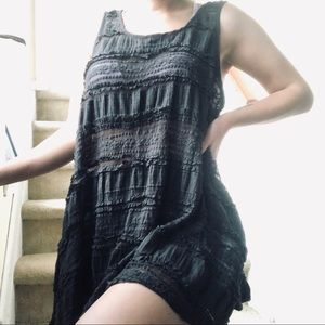 UO sheer lace dress gray